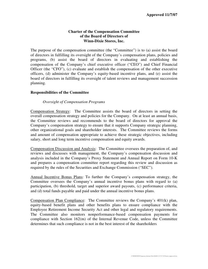 Winn-Dixie Compensation_Committee_Charter
