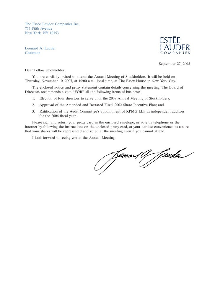 The Est´e Lauder Companies Inc.         e 767 Fifth Avenue New York, NY 10153    Leonard A. Lauder                        ...