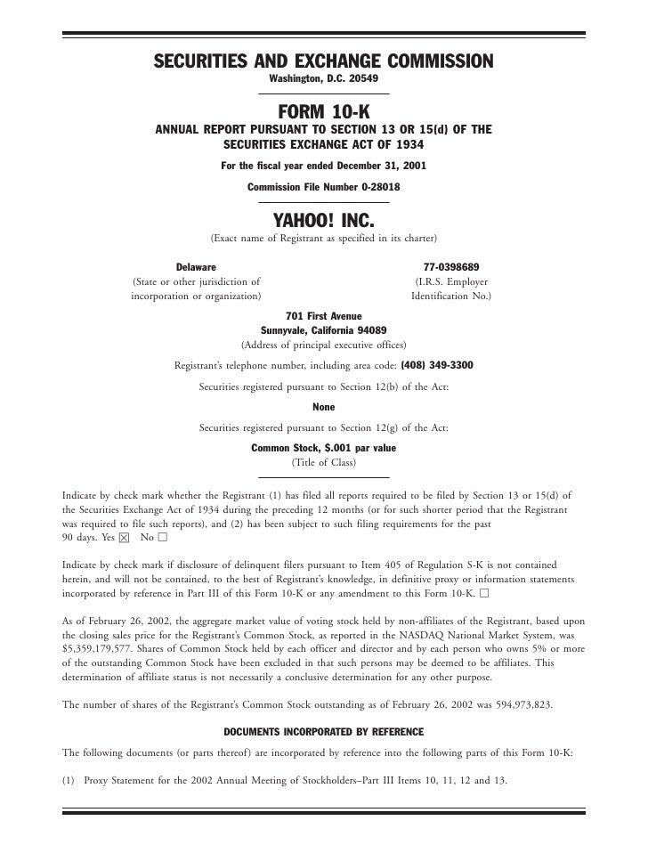 yahoo 2001 Financial Section