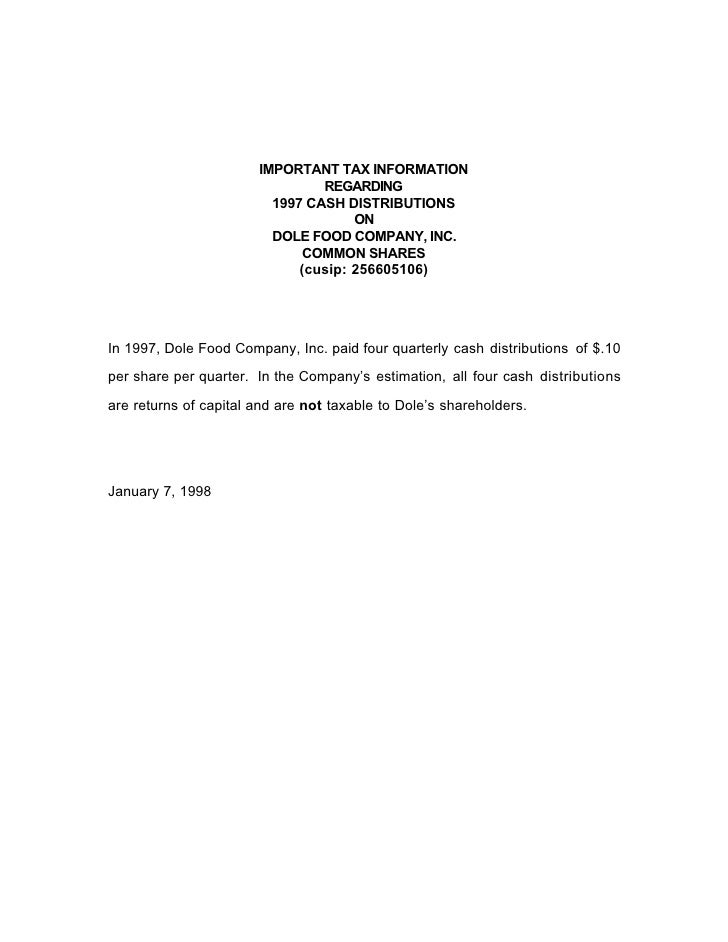 IMPORTANT TAX INFORMATION                                 REGARDING                          1997 CASH DISTRIBUTIONS      ...