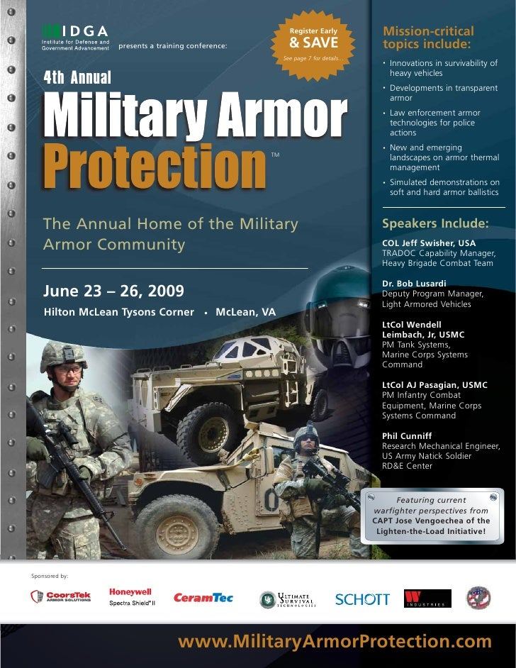 IDGA's 4th Annual Military Armor Protection Program Agenda