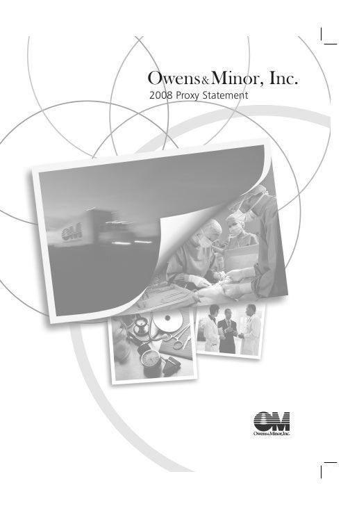 Owens&Minor, Inc. 2008 Proxy Statement