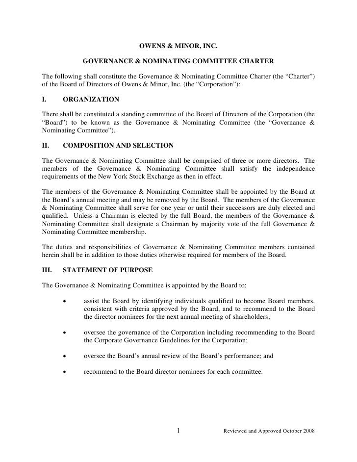 OWENS & MINOR, INC.                GOVERNANCE & NOMINATING COMMITTEE CHARTER  The following shall constitute the Governanc...
