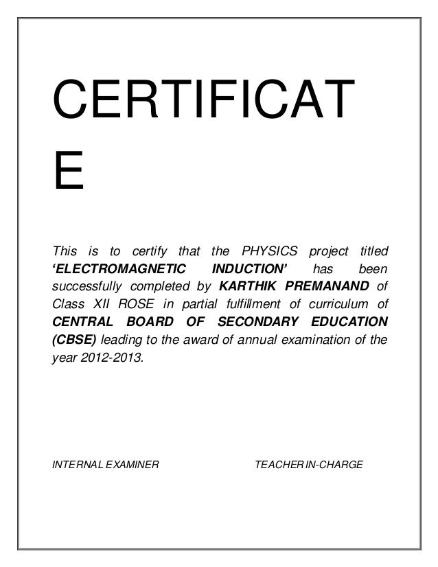 Certificate format for project of class 12th gallery certificate certificate format for project of class 12th choice image certificate format for project class 12 choice yadclub Images
