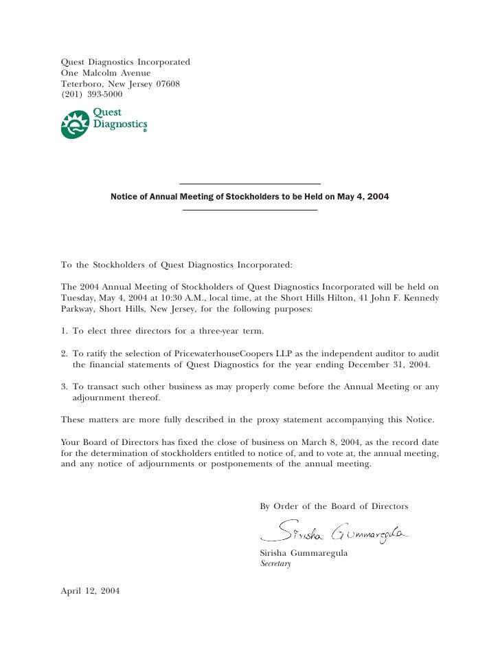 Quest Diagnostics Incorporated One Malcolm Avenue Teterboro, New Jersey 07608 (201) 393-5000                 Notice of Ann...
