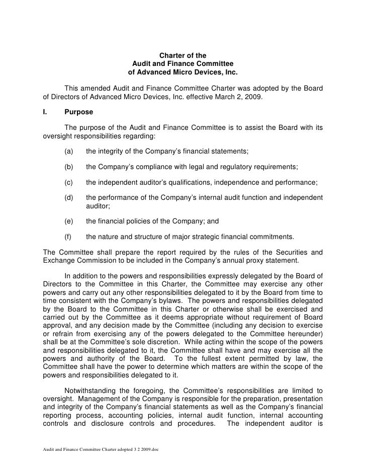 Charter of the                                           Audit and Finance Committee                                      ...