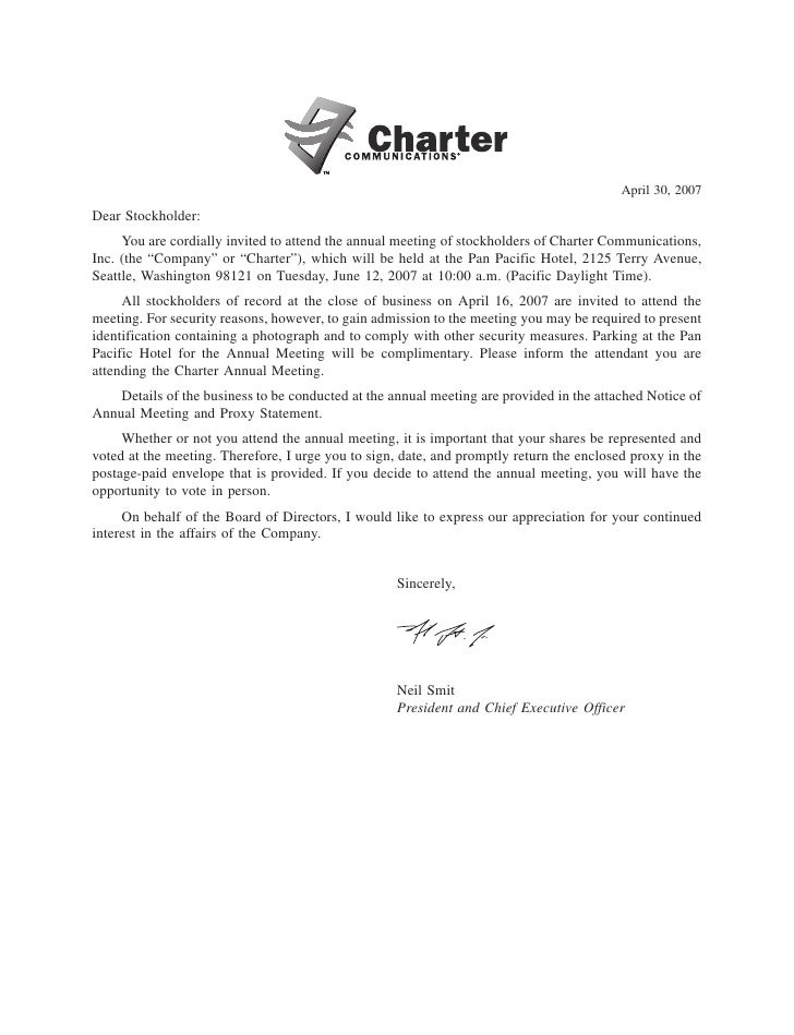 April 30, 2007 Dear Stockholder:      You are cordially invited to attend the annual meeting of stockholders of Charter Co...