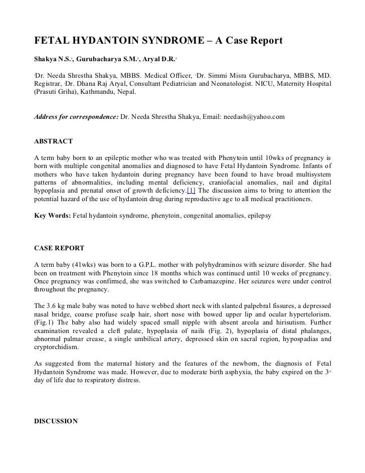 FETAL HYDANTOIN SYNDROME – A Case ReportShakya N.S. , Gurubacharya S.M. , Aryal D.R.              1                    2  ...
