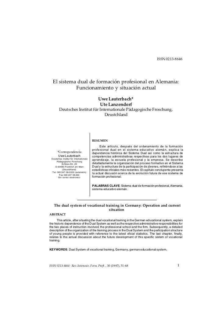 El sistema dual de formación profesional en Alemania: Funcionamiento y situación actual                                   ...