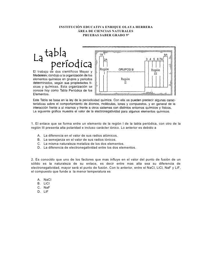 INSTITUCIÓN EDUCATIVA ENRIQUE OLAYA HERRERA                             ÁREA DE CIENCIAS NATURALES                        ...