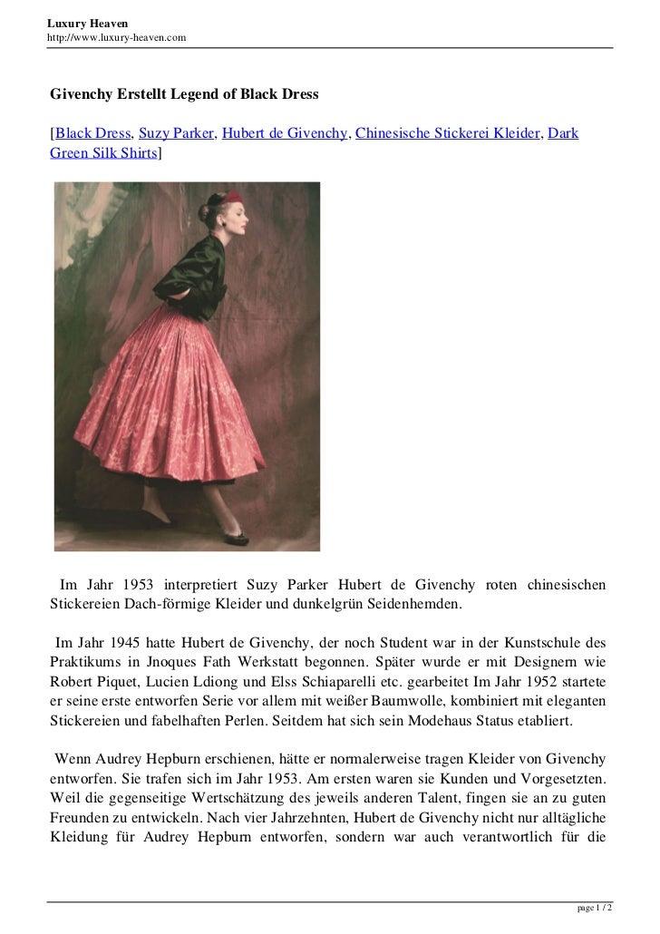 Luxury Heavenhttp://www.luxury-heaven.comGivenchy Erstellt Legend of Black Dress[Black Dress, Suzy Parker, Hubert de Given...