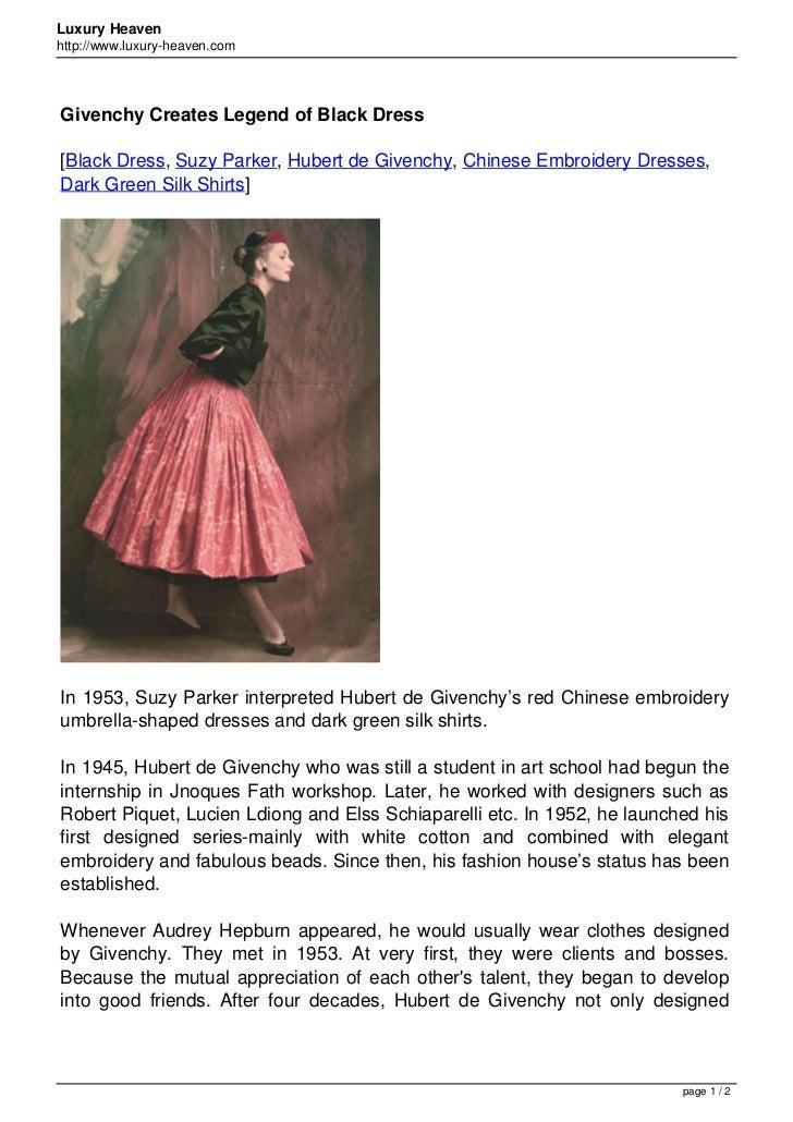 Luxury Heavenhttp://www.luxury-heaven.comGivenchy Creates Legend of Black Dress[Black Dress, Suzy Parker, Hubert de Givenc...