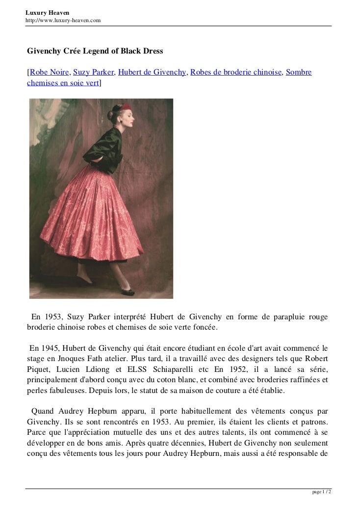 Luxury Heavenhttp://www.luxury-heaven.comGivenchy Crée Legend of Black Dress[Robe Noire, Suzy Parker, Hubert de Givenchy, ...