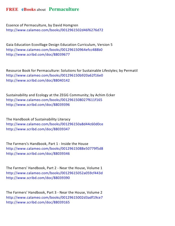 FREE  eBooks about  Permaculture