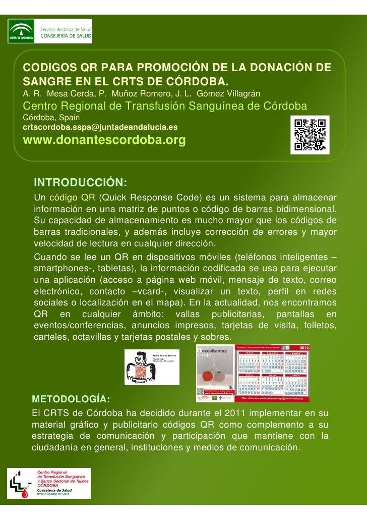 CODIGOS QR PARA PROMOCIÓN DE LA DONACIÓN DESANGRE EN EL CRTS DE CÓRDOBA.A. R. Mesa Cerda, P. Muñoz Romero, J. L. Gómez Vil...