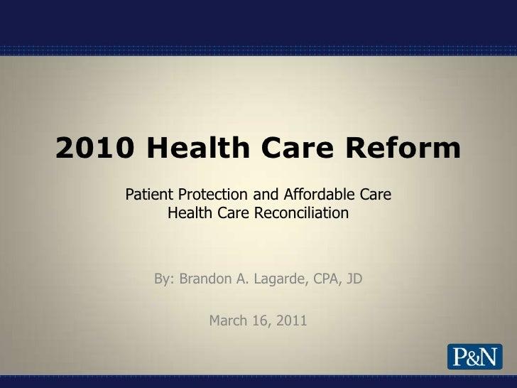 1 18 11 Updated   Health Care Reform Iia