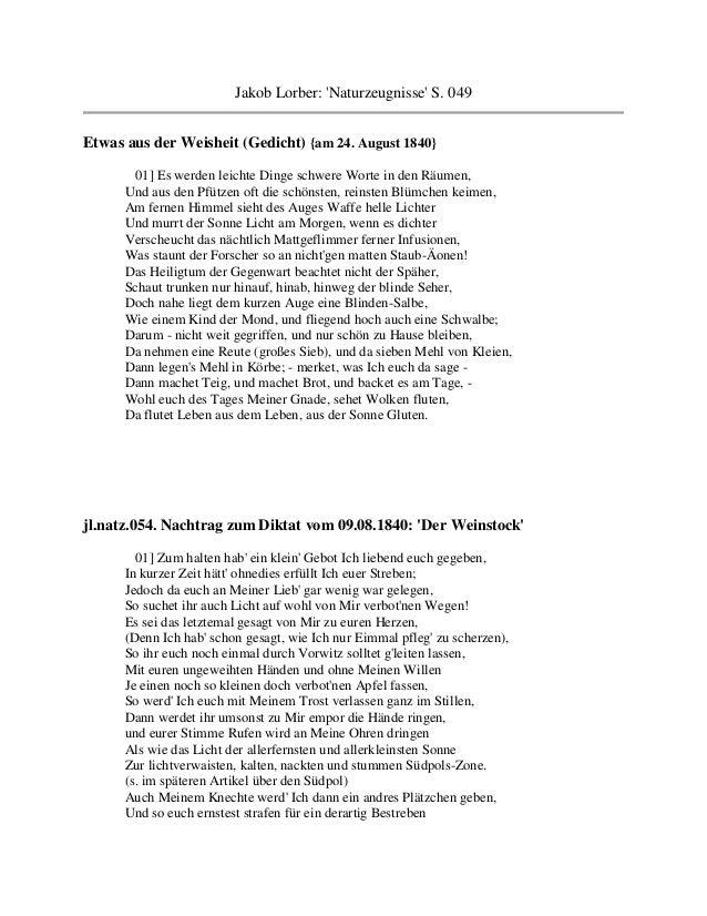 Jakob Lorber: Naturzeugnisse S. 049Etwas aus der Weisheit (Gedicht) {am 24. August 1840}       01] Es werden leichte Dinge...