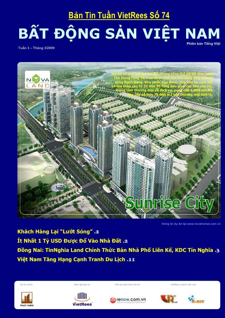 Bản Tin BĐS Việt Nam Số 74 Tuần 3 Tháng 3 Năm 2009