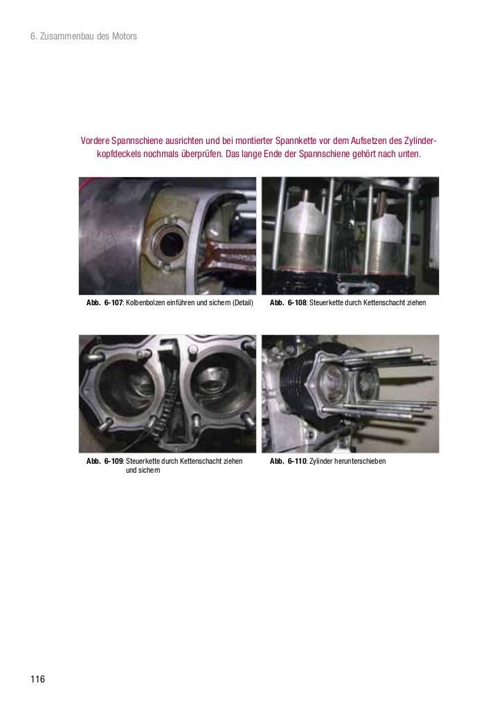6. Zusammenbau des Motors           Vordere Spannschiene ausrichten und bei montierter Spannkette vor dem Aufsetzen des Zy...