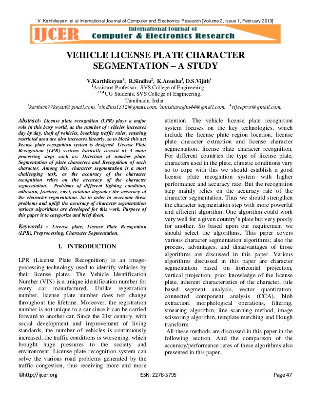V. Karthikeyan, et al International Journal of Computer and Electronics Research [Volume 2, Issue 1, February 2013]  VEHIC...