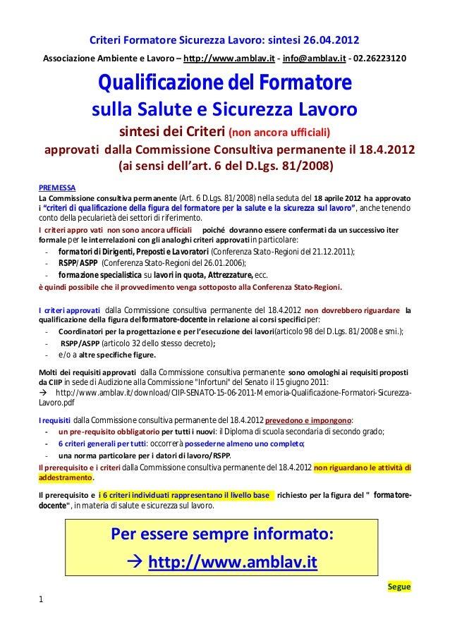 Criteri Formatore Sicurezza Lavoro: sintesi 26.04.2012    Associazione Ambiente e Lavoro – http://www.amblav.it - info@amb...