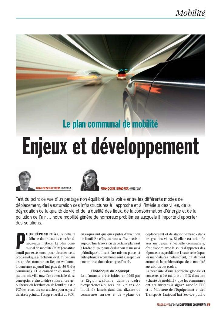 Mobilité                                       Le plan communal de mobilité     Enjeux et développement                TOM...