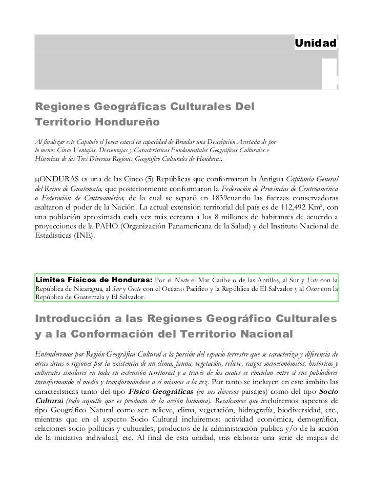 Regiones Geografíco Culturales en Honduras