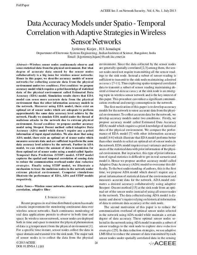 Full Paper ACEEE Int. J. on Network Security , Vol. 4, No. 1, July 2013  Data Accuracy Models under Spatio - Temporal Corr...