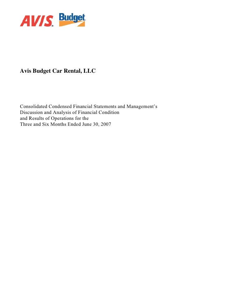 Avis Budget Car Rental, LLC     Consolidated Condensed Financial Statements and Management's Discussion and Analysis of Fi...