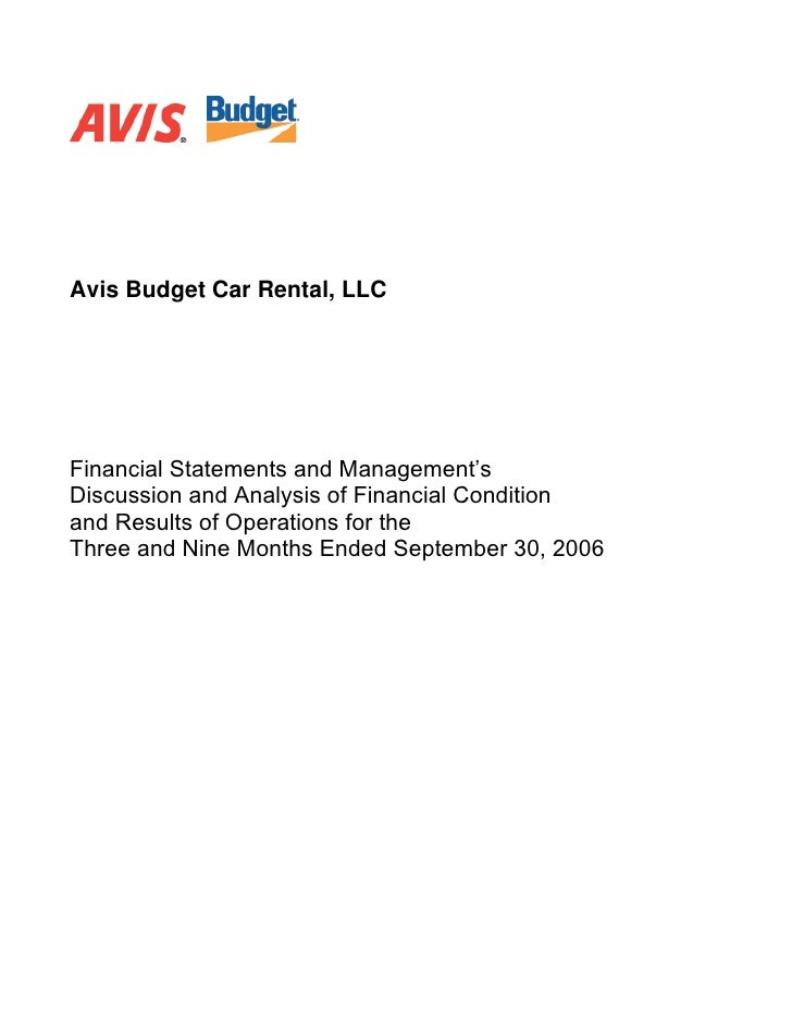 Avis Budget Car Rental, LLC     Financial Statements and Management's Discussion and Analysis of Financial Condition and R...