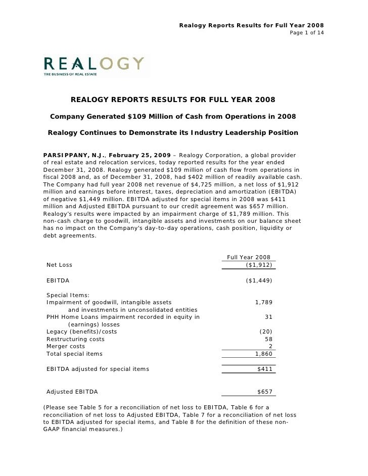 Realogy Reports Results for Full Year 2008                                                                                ...