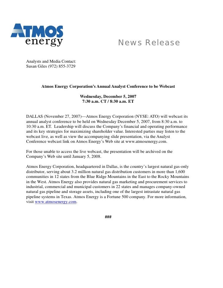 News Release  Analysts and Media Contact: Susan Giles (972) 855-3729            Atmos Energy Corporation's Annual Analyst ...