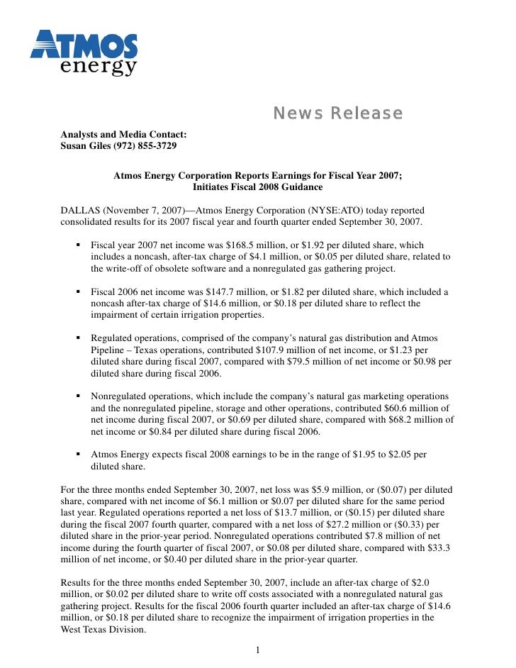 News Release Analysts and Media Contact: Susan Giles (972) 855-3729               Atmos Energy Corporation Reports Earning...