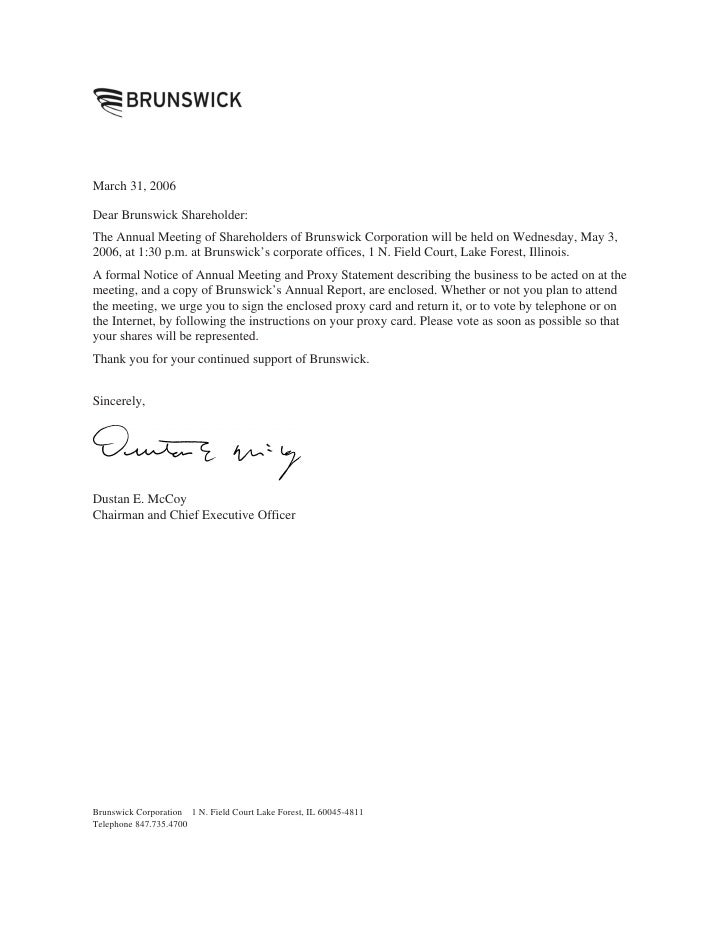 March 31, 2006  Dear Brunswick Shareholder: The Annual Meeting of Shareholders of Brunswick Corporation will be held on We...
