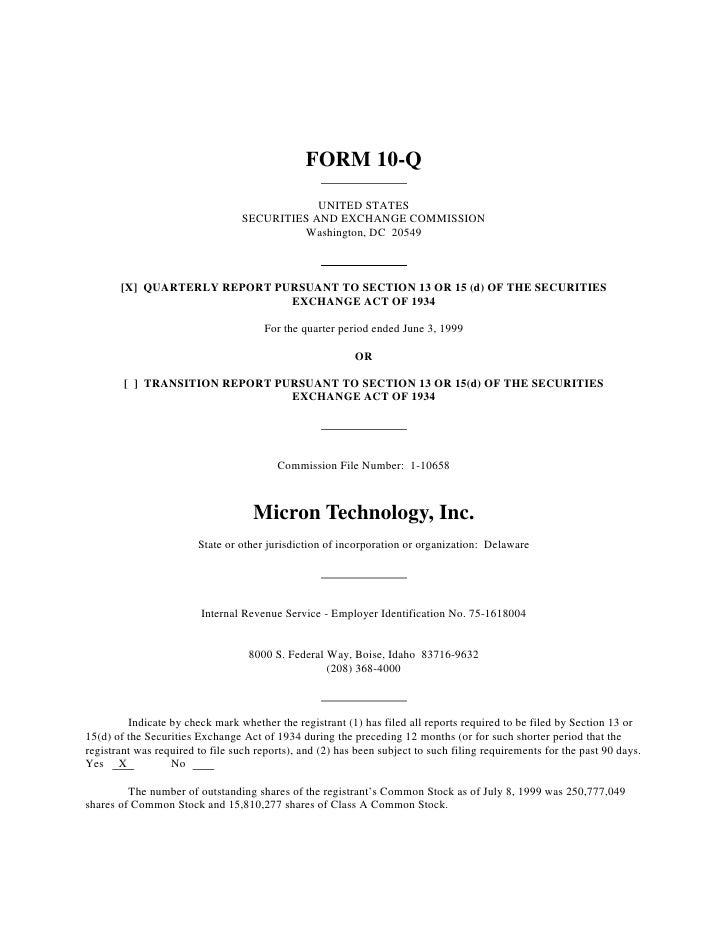 micron technollogy 1999_Q3_10Q