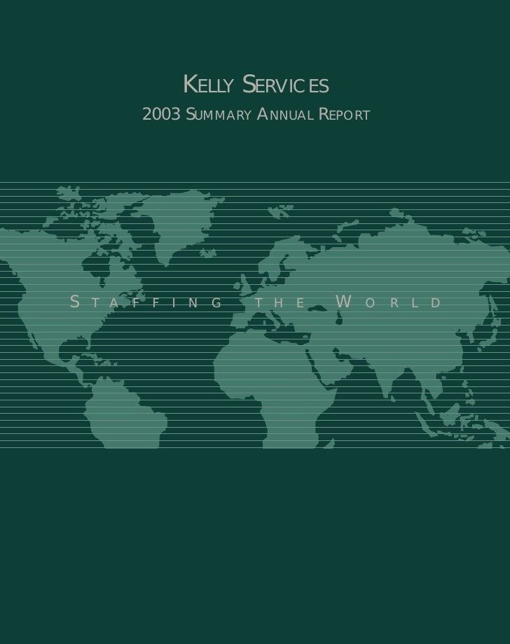 kelly services  annual reports 2003