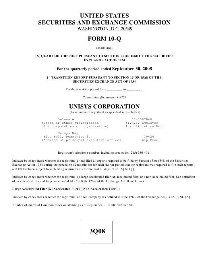 unisys 2008_3Q_10Q