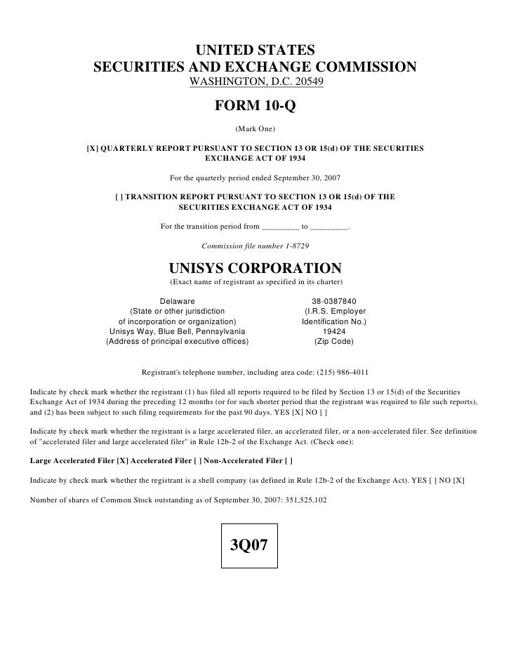 unisys 2007_3Q_10Q