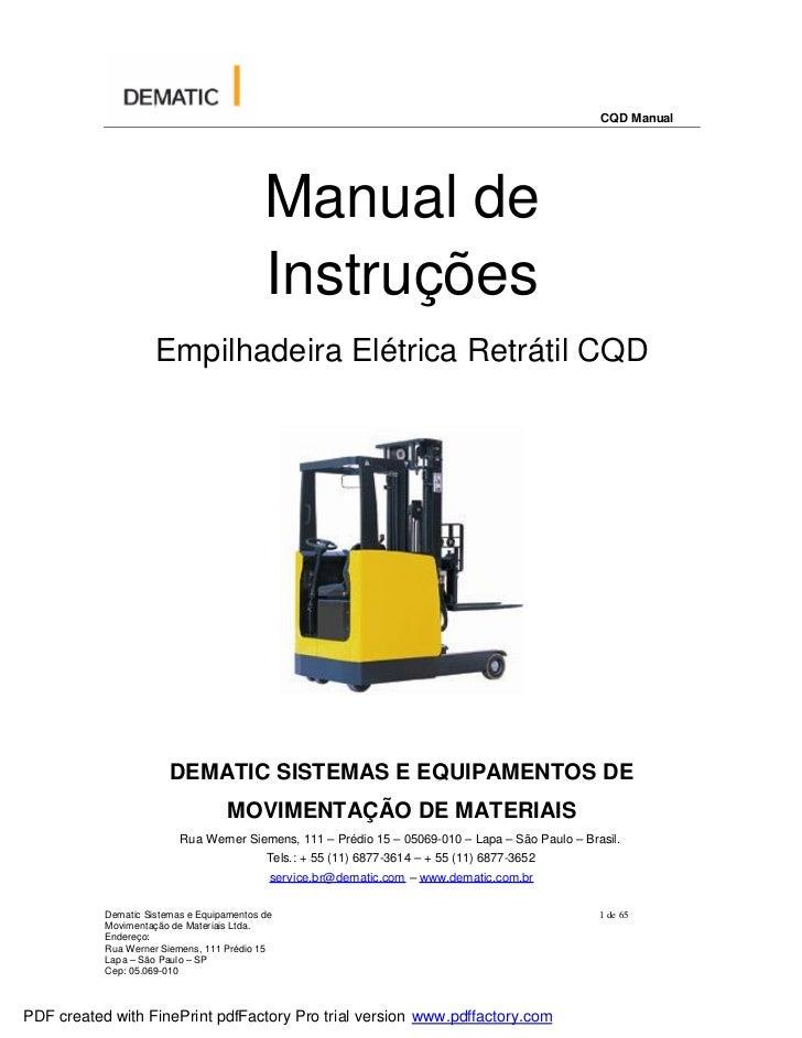 CQD Manual                                           Manual de                                           Instruções       ...