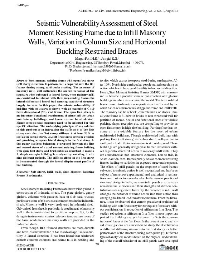 Full Paper ACEE Int. J. on Civil and Environmental Engineering, Vol. 2, No. 1, Aug 2013  Seismic Vulnerability Assessment ...