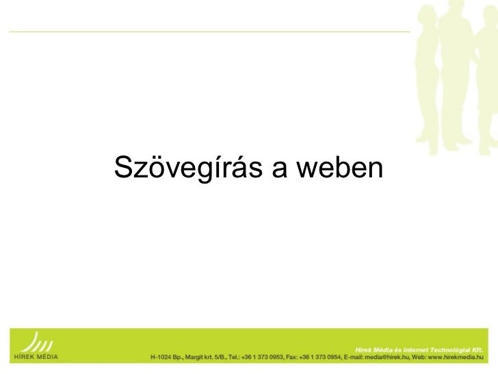 Szövegírás a weben - Barcamp 2011.03.30