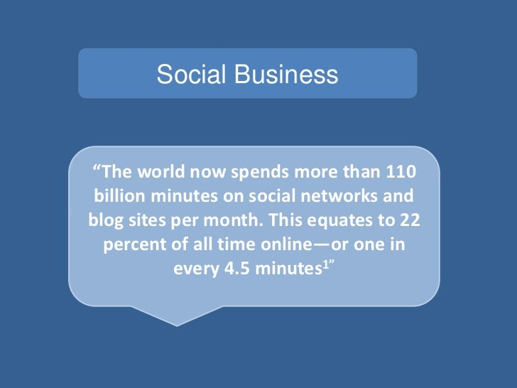 "Social Business""The world now spends more than 110 billion minutes on social networks andblog sites per month. This equate..."