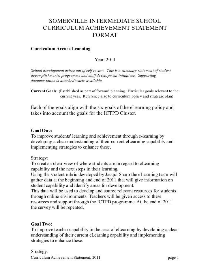 eLearning Achievement Statement: 2011