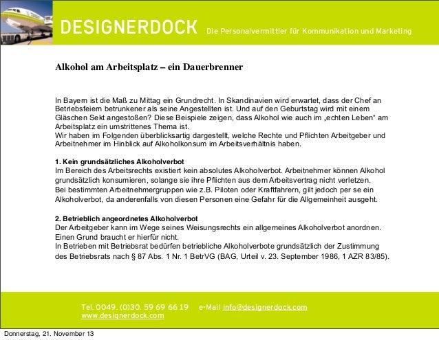 ∂  Die Personalvermittler für Kommunikation und Marketing  Alkohol am Arbeitsplatz – ein Dauerbrenner In Bayern ist die Ma...