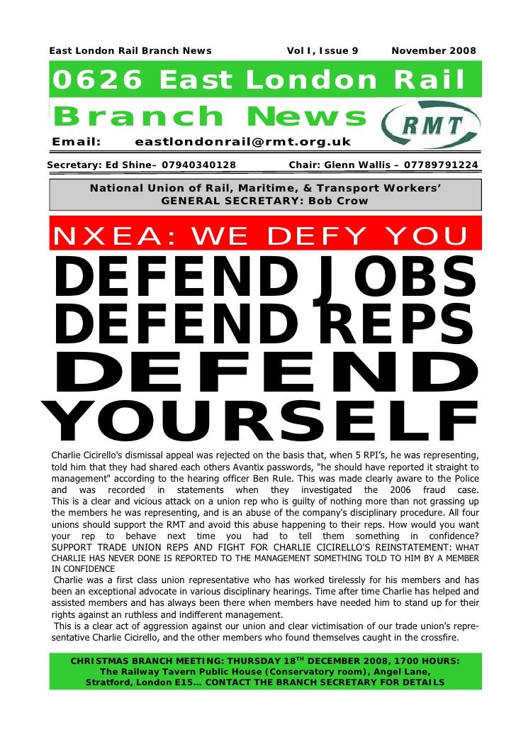 East London Rail Branch News                             Vol I, Issue 9           November 20080626 East London RailB r a ...