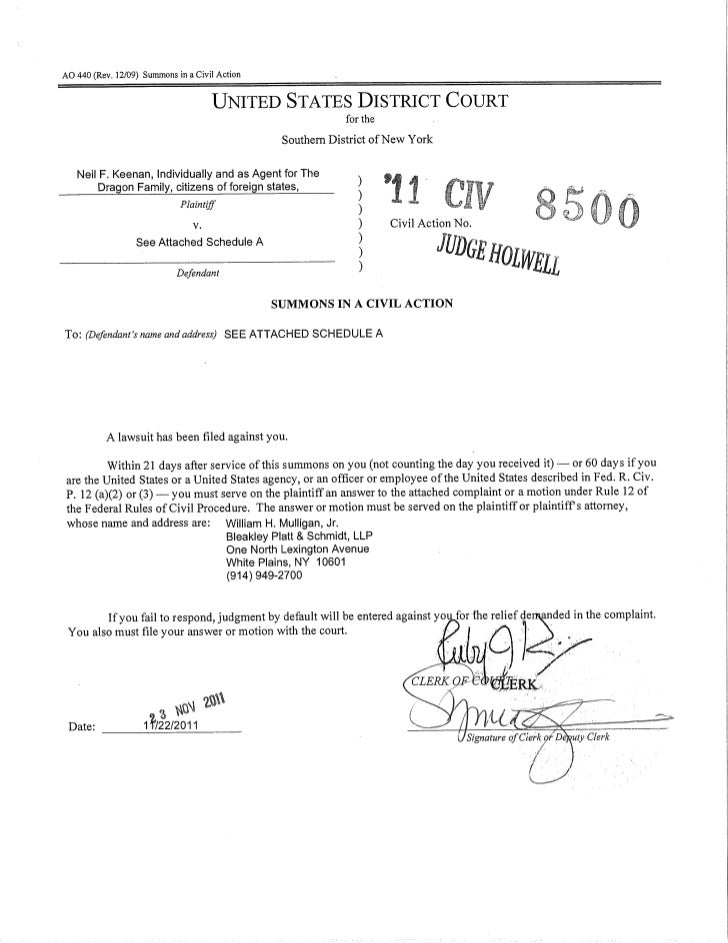 AO 440 (Rev. 12/09) Summons in a Civil Action                                      UNITED STATES DISTRICT COURT           ...