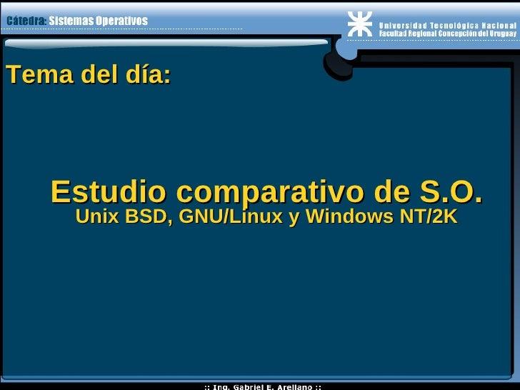 Tema del día: Estudio comparativo de S.O. Unix BSD, GNU/Linux y Windows NT/2K