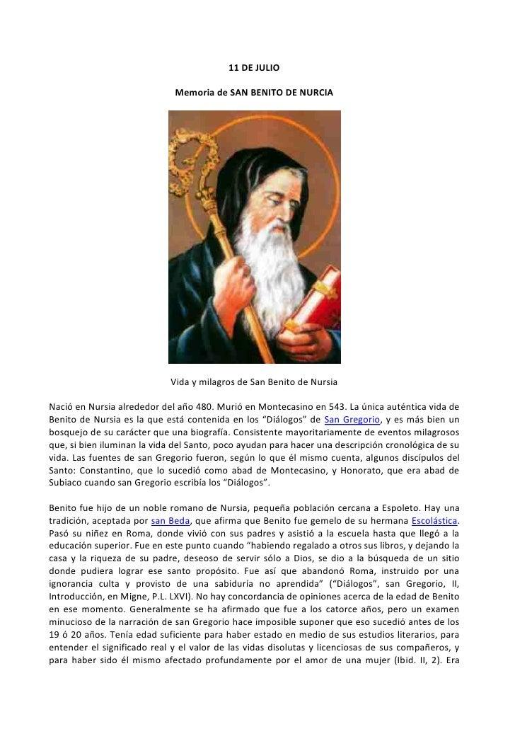 11 De Julio día de San Benito