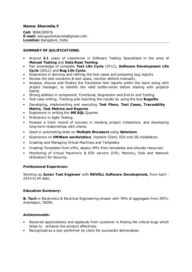 sle resume for experienced software tester 28 images