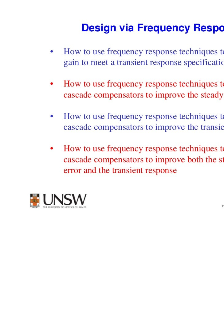 1        Design via Frequency Response•   How to use frequency response techniques to adjust the    gain to meet a transie...